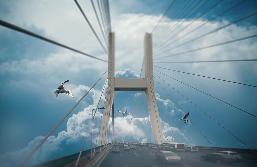 Photo Digital Art - Bridge In The Clouds by Dejan Jekic