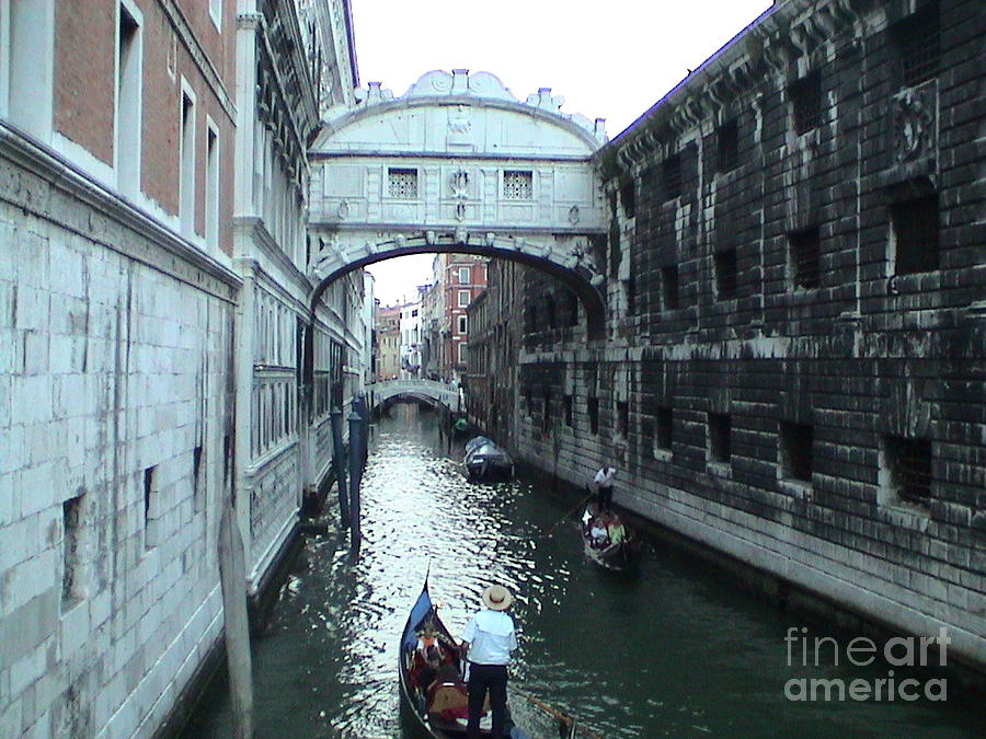 Bridge of Sighs Venice Italy Canal Gondolas Unique Panoramic View by John Shiron
