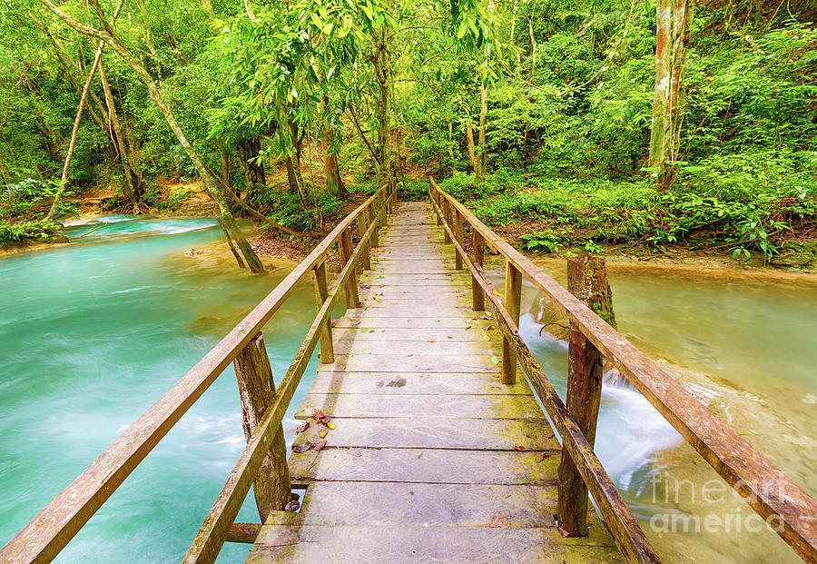 Waterfall Photograph - Bridge on the way to Tat Sae Waterfalls. Beautiful landscape. La by MotHaiBaPhoto Prints