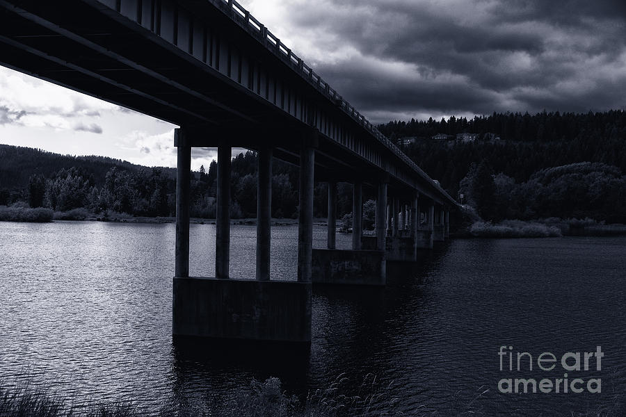Bridge over Spokane River Cloudy Day by Matthew Nelson