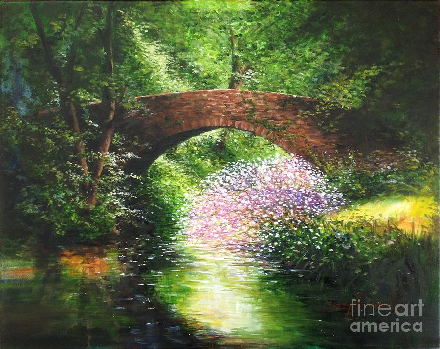 Cotswolds Old Stone Bridge - Over Still Waters Painting