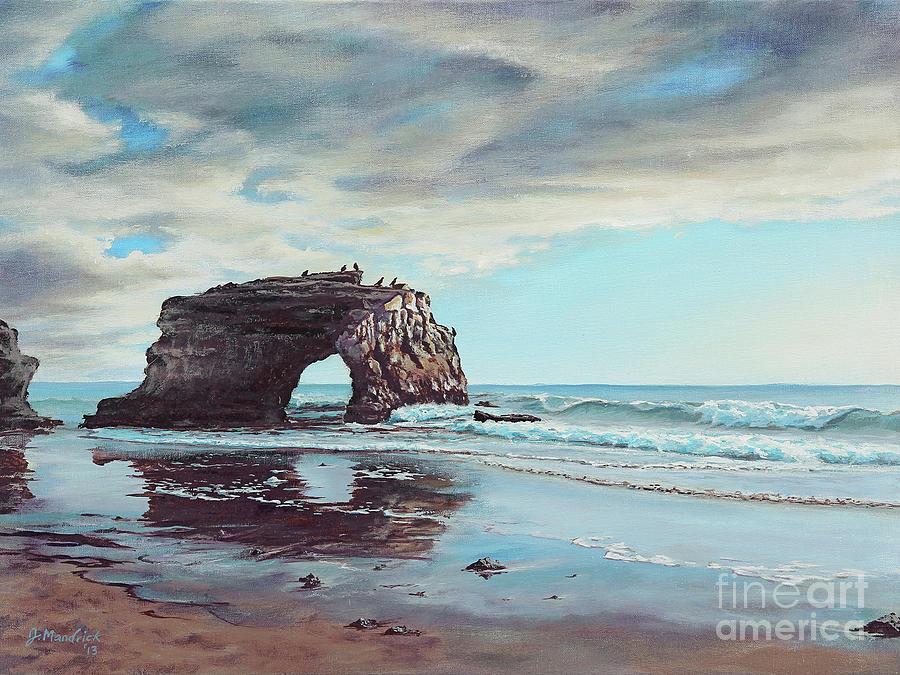Seascape Painting - Bridge Rock by Joe Mandrick