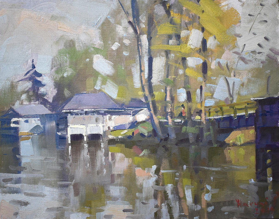 Bridge Painting - Bridge to Boathouses  by Ylli Haruni