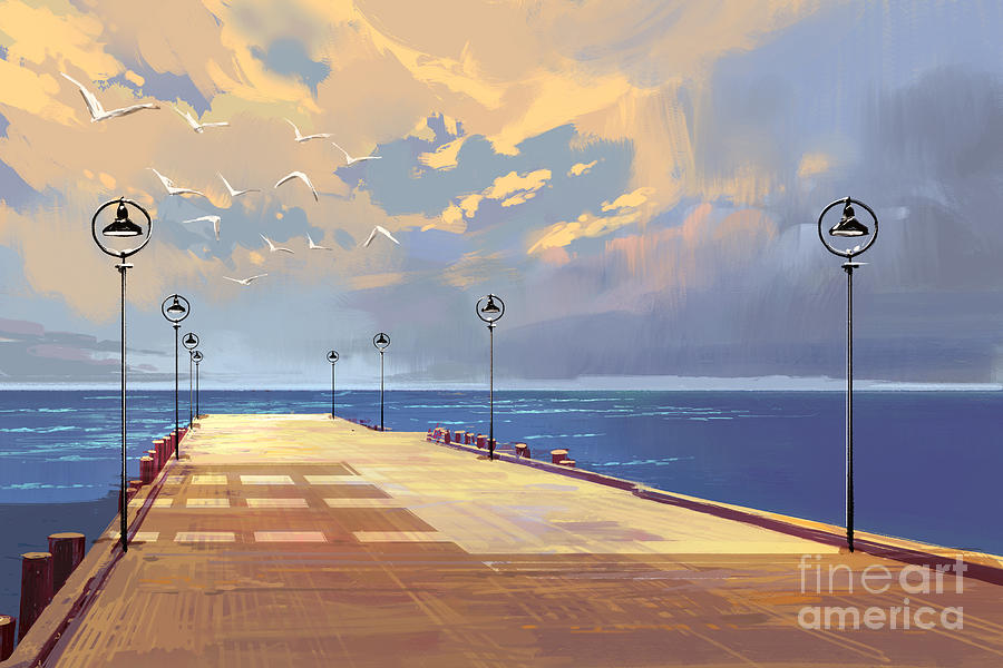 Clouds Digital Art - Bridge To The Sea Against Beautiful by Tithi Luadthong