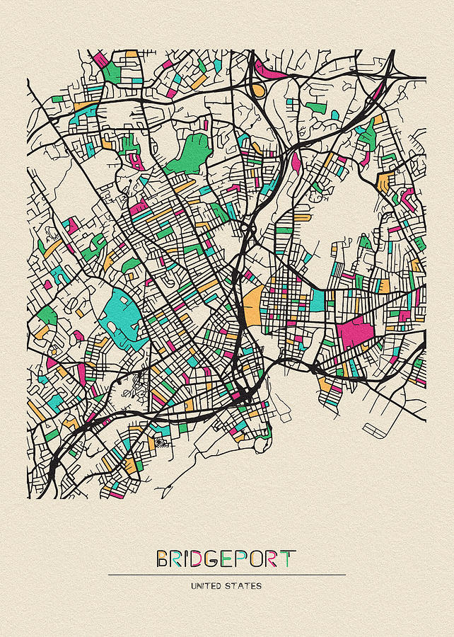 Bridgeport Drawing - Bridgeport, United States City Map by Inspirowl Design