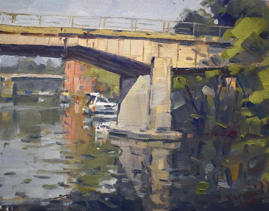 Bridges Painting - Bridges At North Tonawanda  by Ylli Haruni