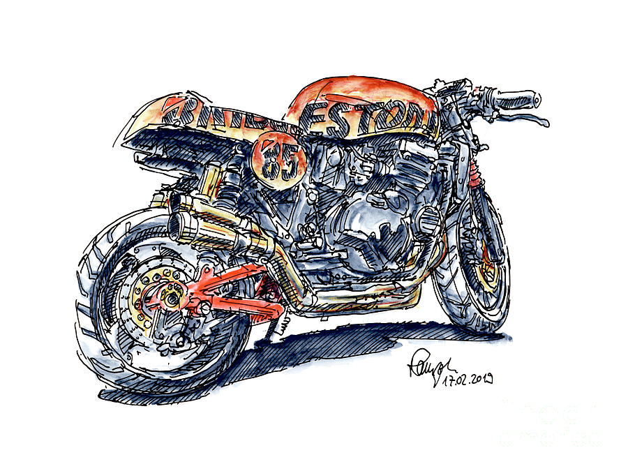 Motorbike Drawing - Bridgestone Kawasaki Custom Motorbike Ink Drawing and Watercolor by Frank Ramspott
