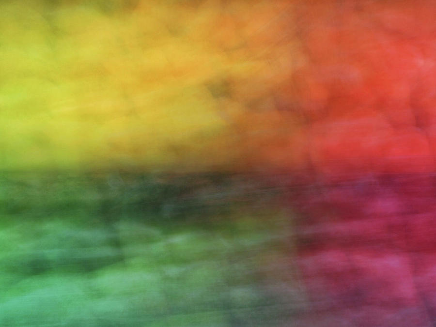 Bright abstract blurred color blocks of yellow, orange, red and green by Teri Virbickis