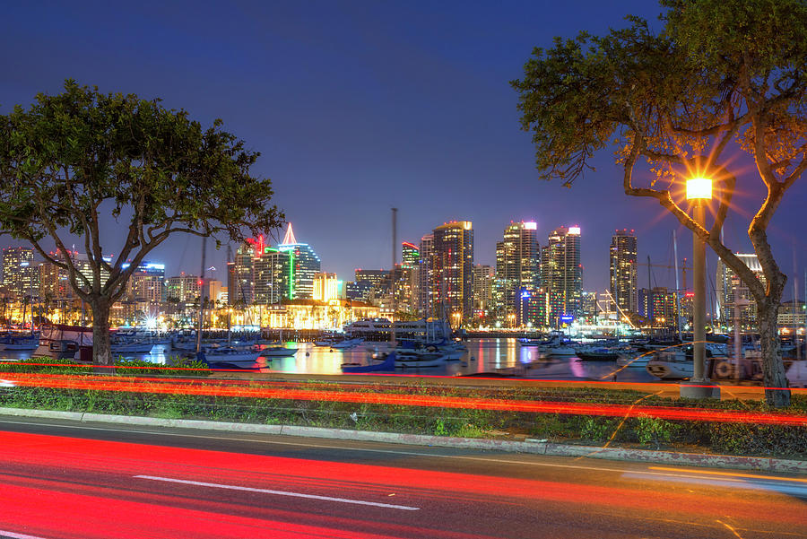 Bright and Beautiful In The Night San Diego Skyline by Joseph S Giacalone