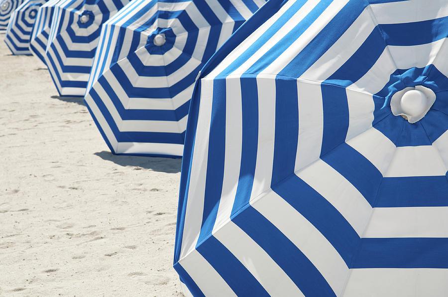 Bright Blue And White Striped Beach Photograph by Peskymonkey