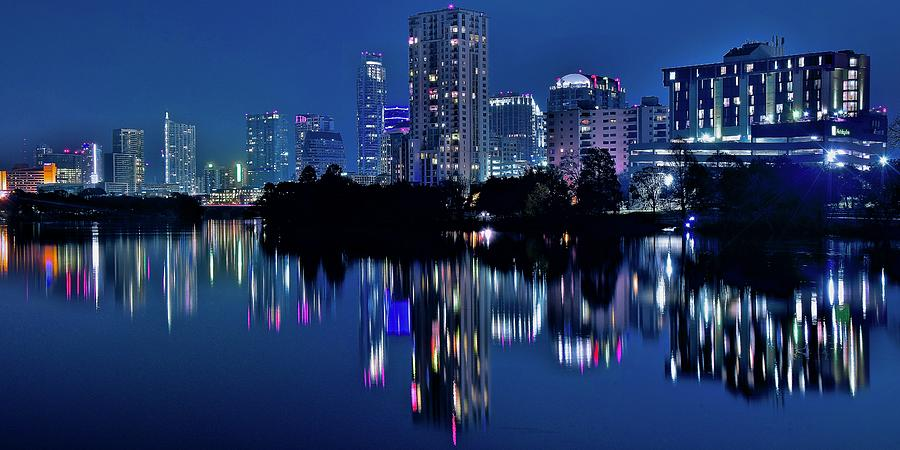 Austin Photograph - Bright Blue Hour In Austin by Frozen in Time Fine Art Photography