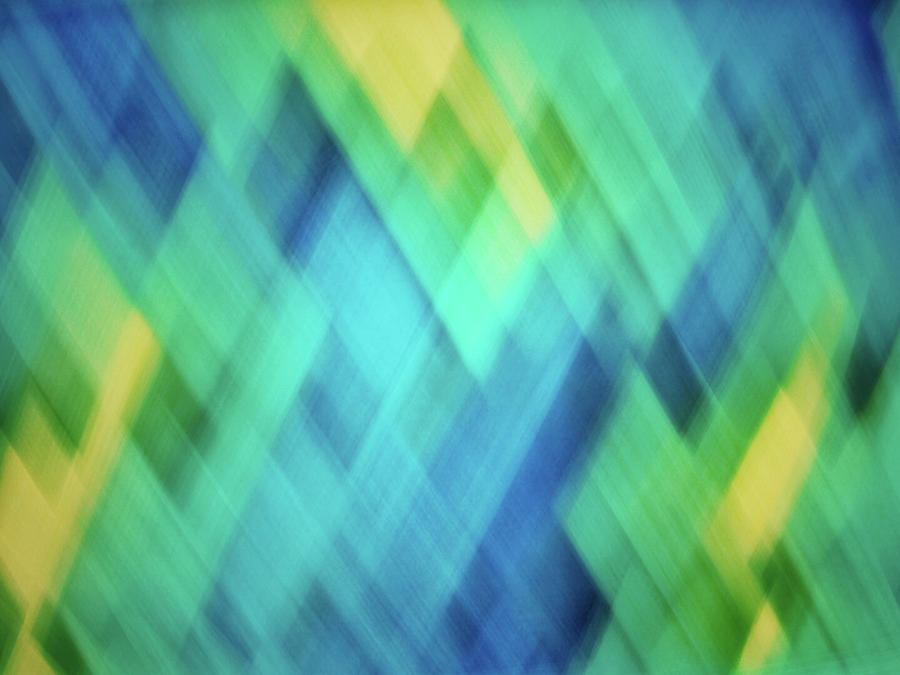 Bright blue, turquoise, green and yellow blurred diamond pattern abstract by Teri Virbickis