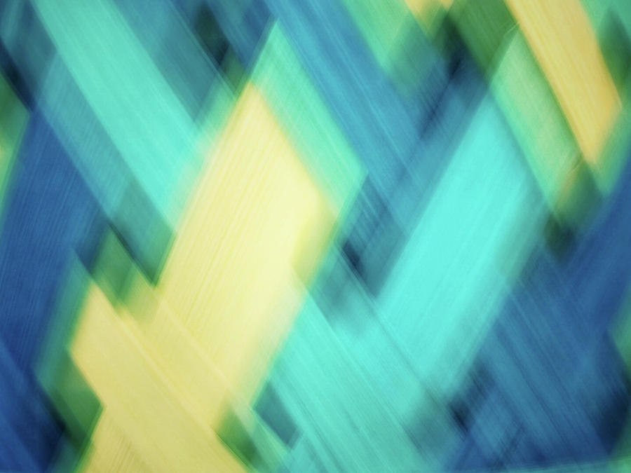 Bright blue, turquoise, green and yellow blurred diamond shapes abstract  by Teri Virbickis