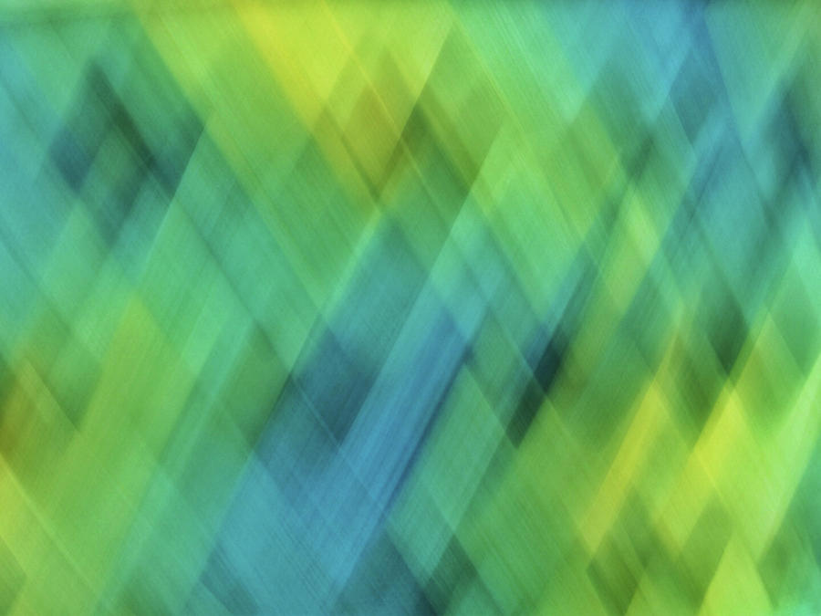 Bright blue, turquoise, green and yellow blurred diamond shapes and lines abstract  by Teri Virbickis