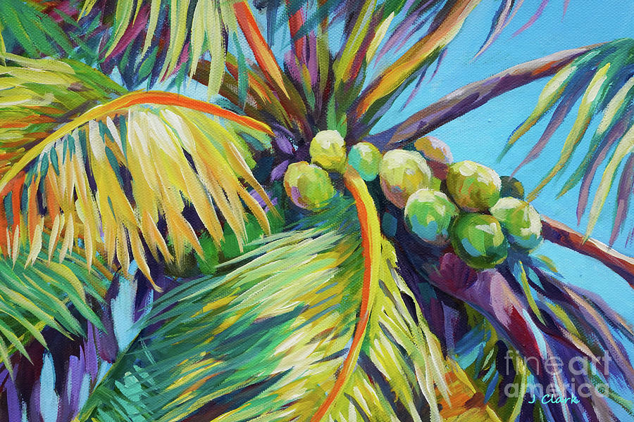 Palm Painting - Bright Coconuts In A Palm Tree by John Clark