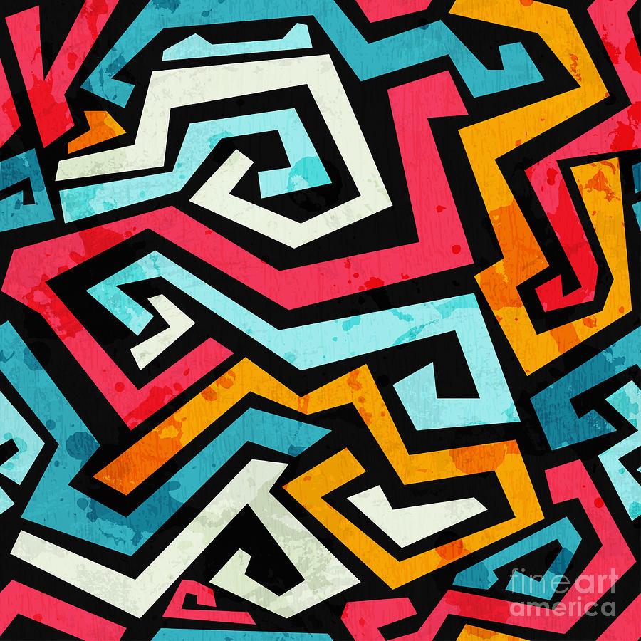 Symbol Digital Art - Bright Graffiti Seamless Pattern With by Gudinny
