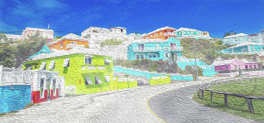 Bermuda Digital Art - Bright Parish Life Bermuda by Betsy Knapp