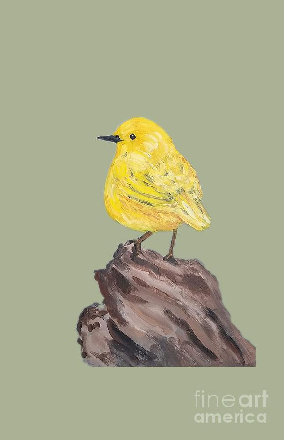 Yellow Bird Painting - Bright Spot #2 by Maria Langgle