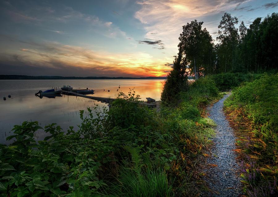 Bright Trail Beside Lake Photograph by David Olsson