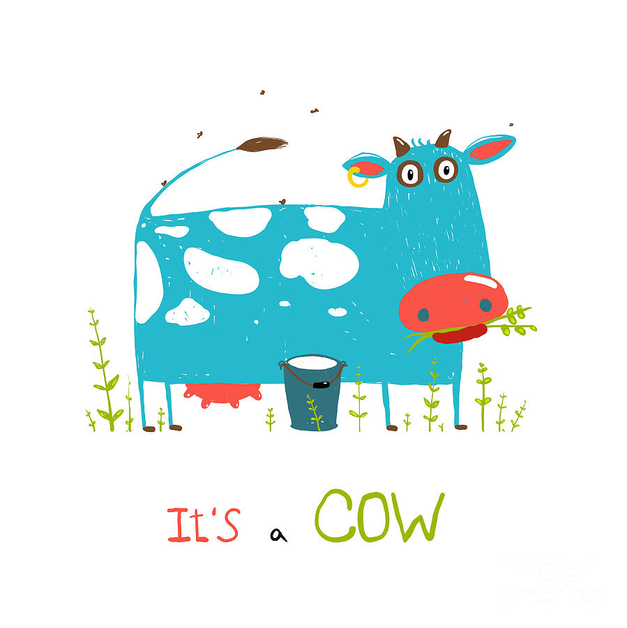 Country Digital Art - Brightly Colored Fun Cow And Milk For by Popmarleo