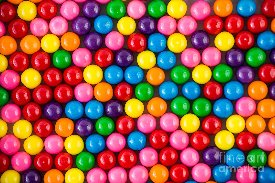 Pink Photograph - Brightly Colored Gum Balls Laying Flat by Cohlmann