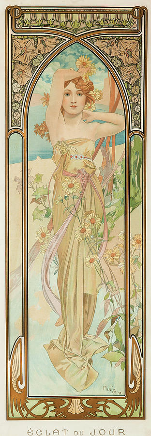 Alfons Mucha Painting - Brightness Of Day, 1899 by Alfons Mucha