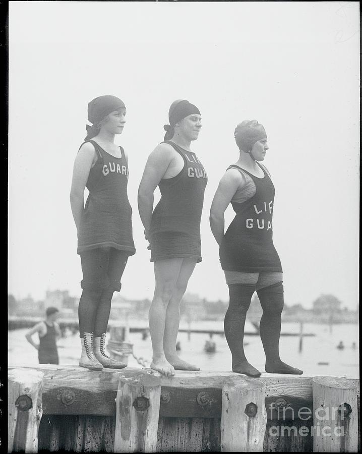 Brighton Beach Female Lifeguards Posing Photograph by Bettmann