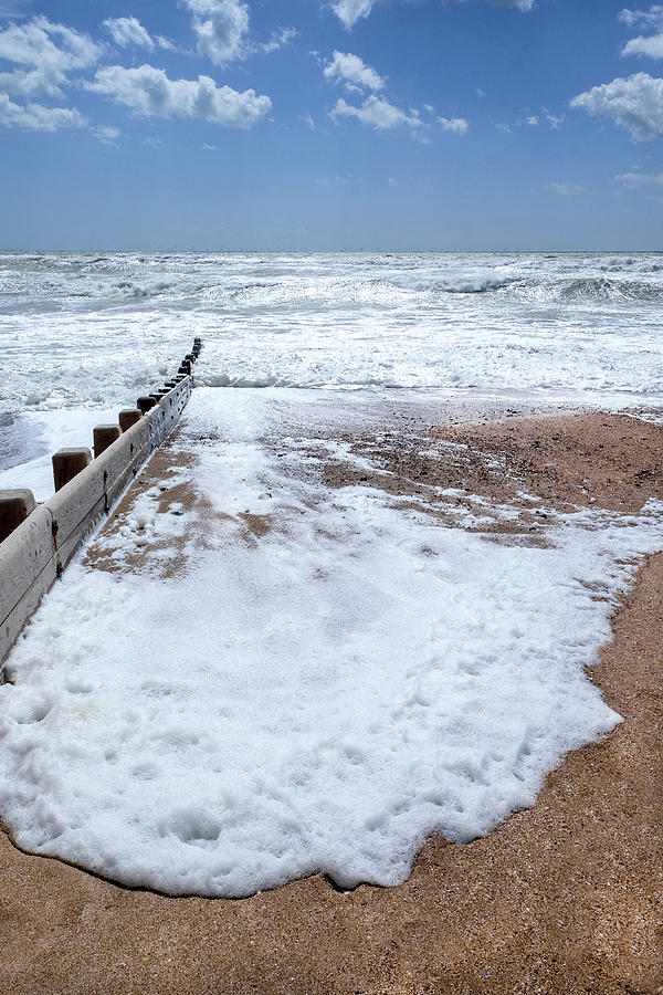 Brighton Beach Sea White Foam On The Beach Photograph By Gill Copeland