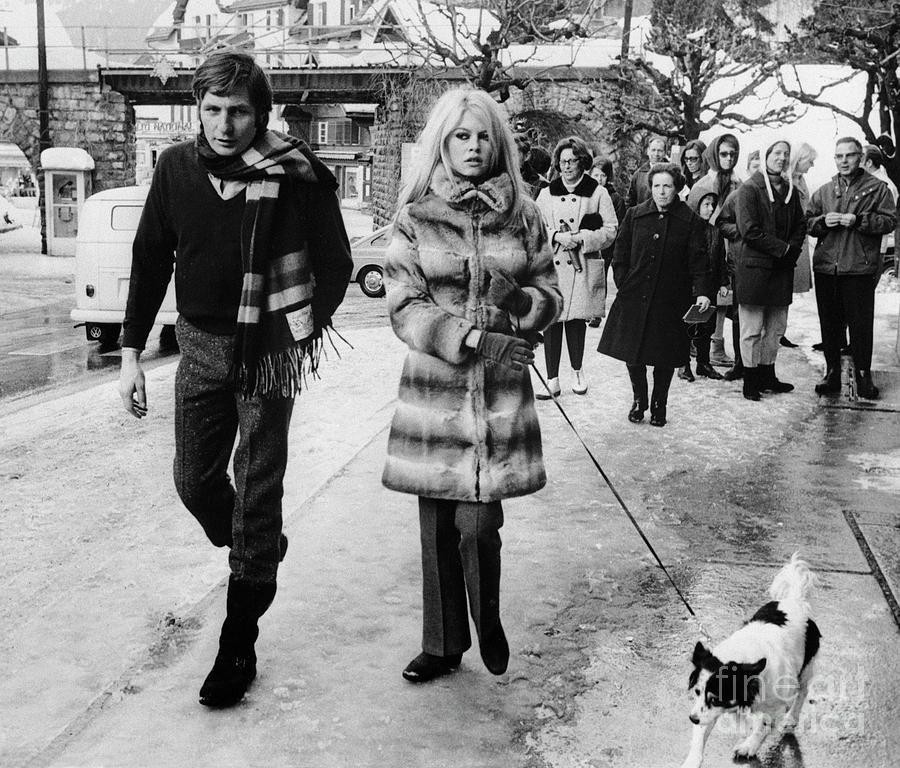 Brigitte Bardot And Husband Walk The Dog Photograph by Bettmann