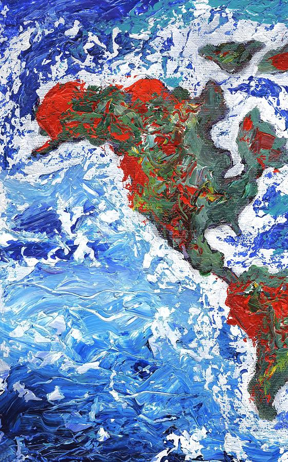 Abstract Expressionism Painting - Brilliant World - Panel One of Three by Linda Mears