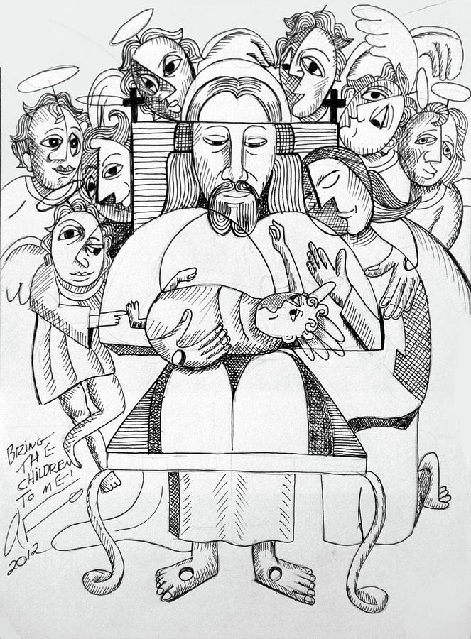 Black And White Drawing - Bring The Children To Me by Anthony Falbo