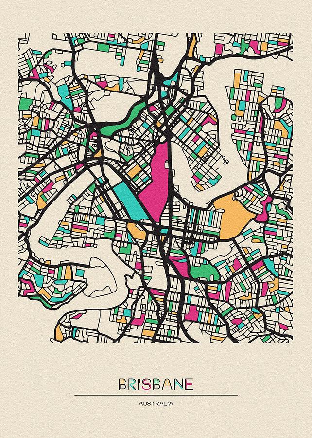 Map Of Brisbane Australia.Brisbane Australia City Map By Inspirowl Design