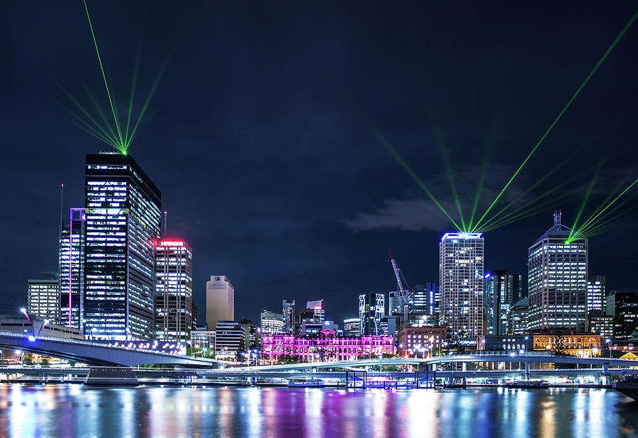 Brisbane Light Show Photograph by Photography By Byron Tanaphol Prukston