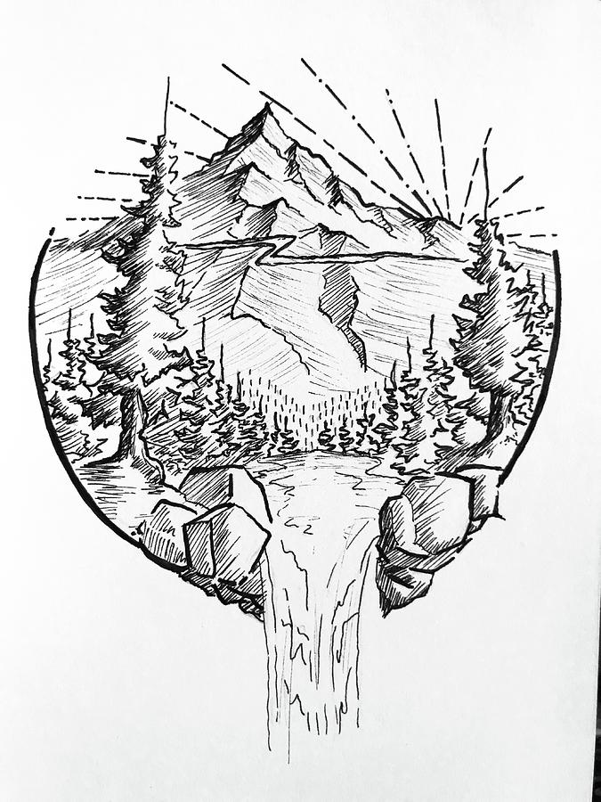 Brisk Mountain Drawing By Kelsey Jackson Learn how to draw mountains covered with snow or from the desert easily! brisk mountain by kelsey jackson