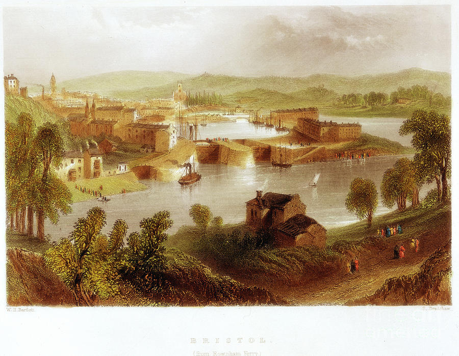 Bristol From Rownham Ferry, 1841 Drawing by Print Collector