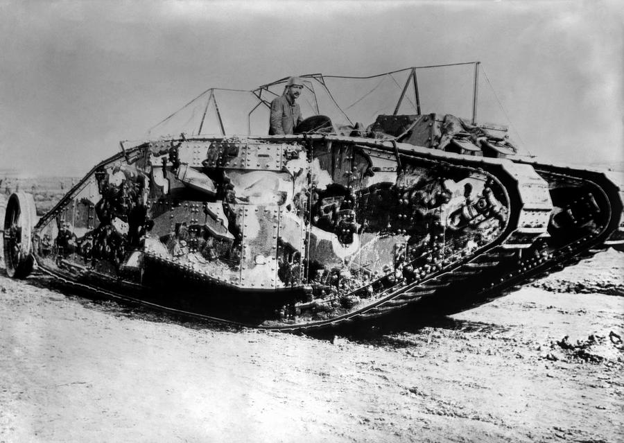 Tank Photograph - British Mark I Tank - France - 1916 by War Is Hell Store