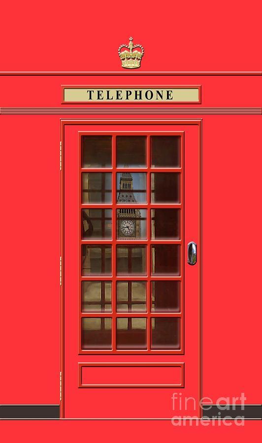 British Red Phone Box With Big Ben Mixed Media