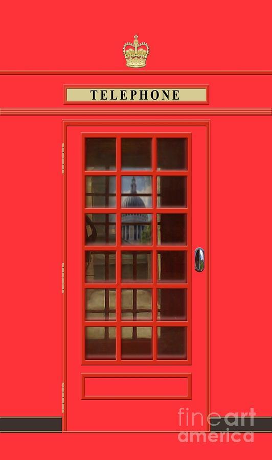 British Red Phone Box With St Pauls Mixed Media