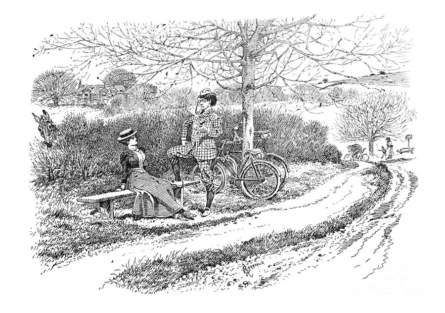 British satire comic cartoon illustrations - Couple with bicycles by Campwillowlake