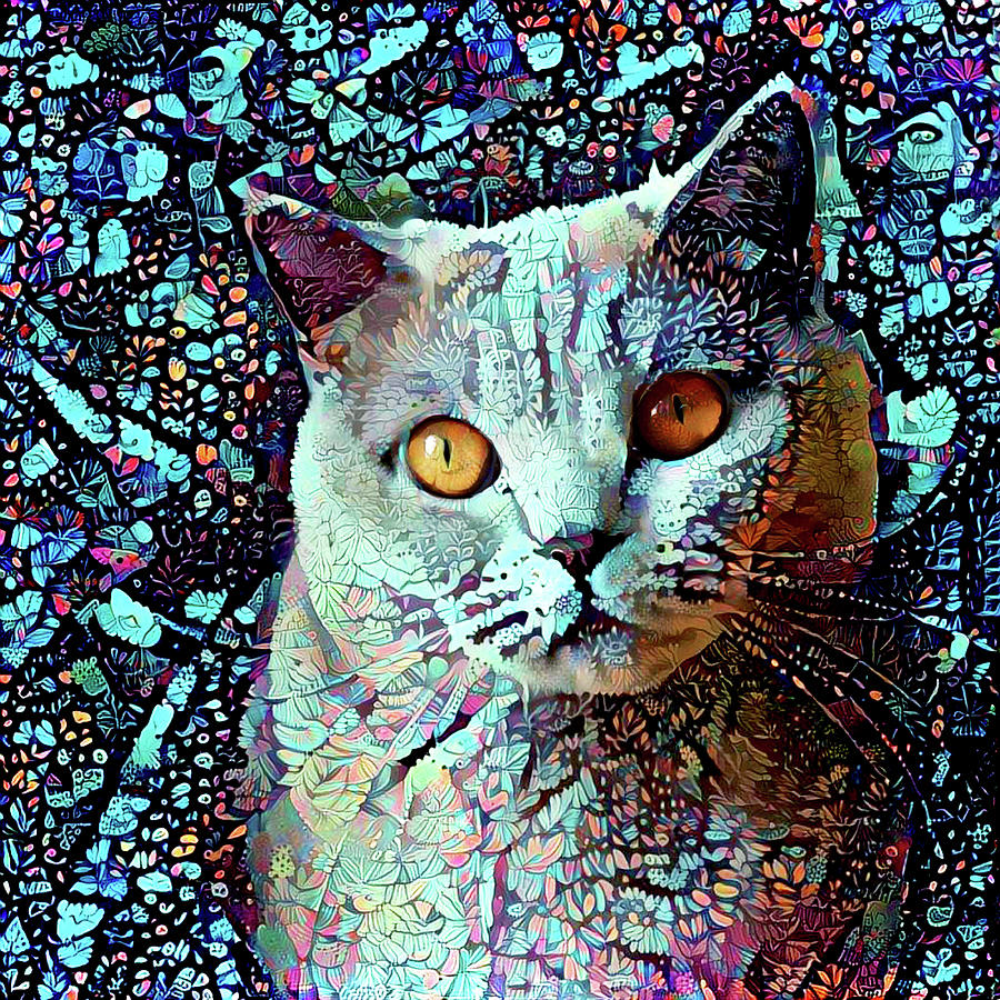 British Shorthair Cat in Blue by Peggy Collins