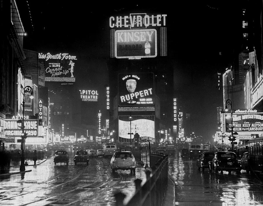 Broadway And Times Square At Night Photograph by New York Daily News Archive