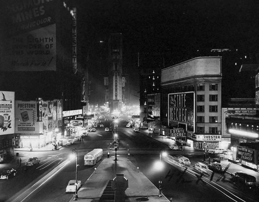 Broadway Blacks Out Its Lights In Photograph by New York Daily News Archive