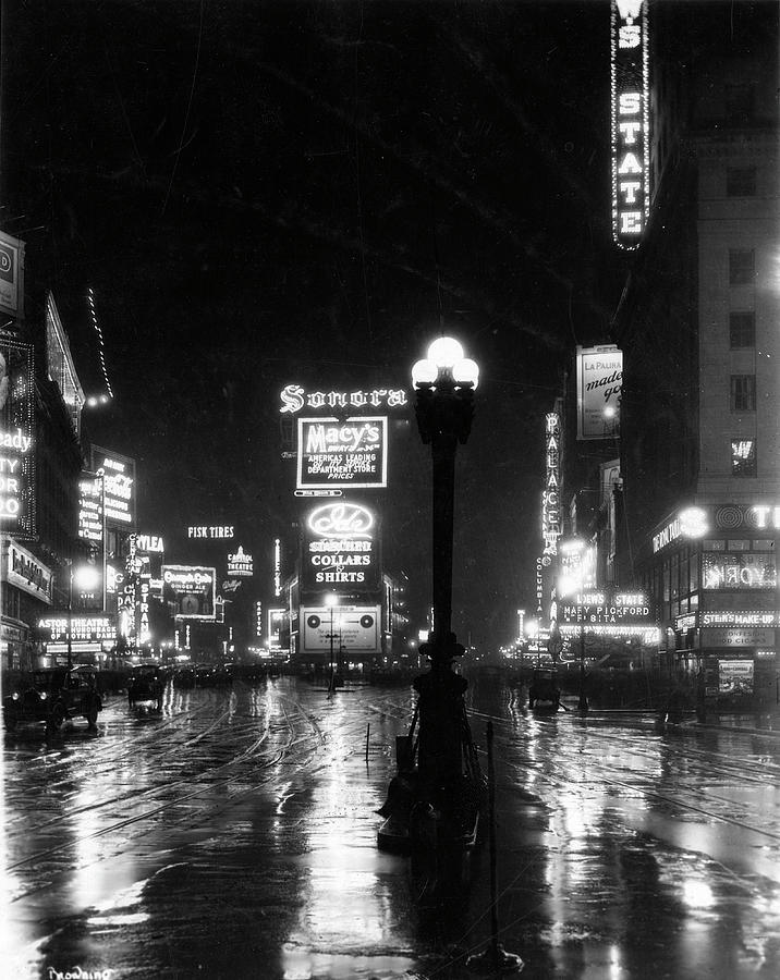 Broadway On A Rainy Night Photograph by The New York Historical Society