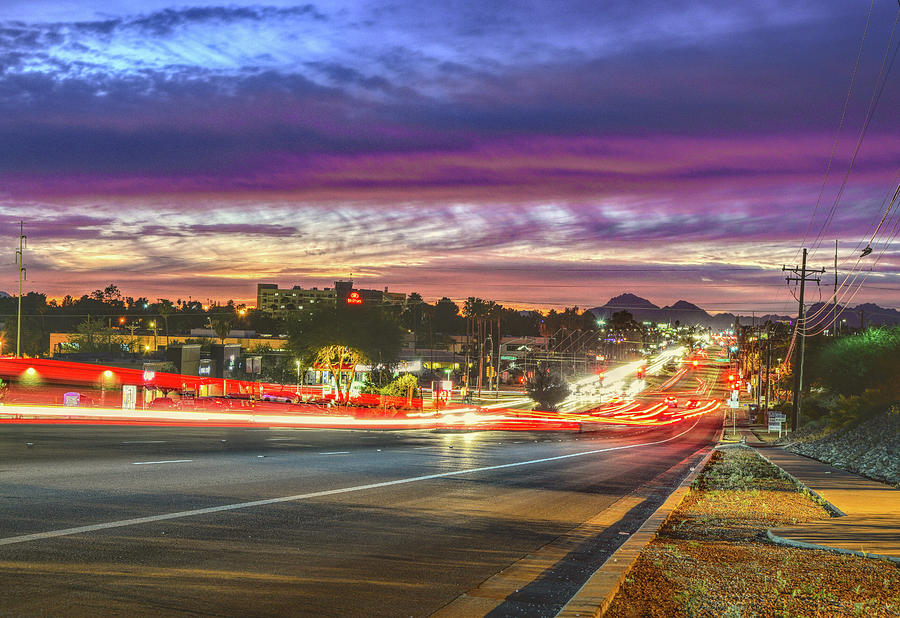 Tucson Photograph - Broadway Sunset, Tucson, Az by Chance Kafka