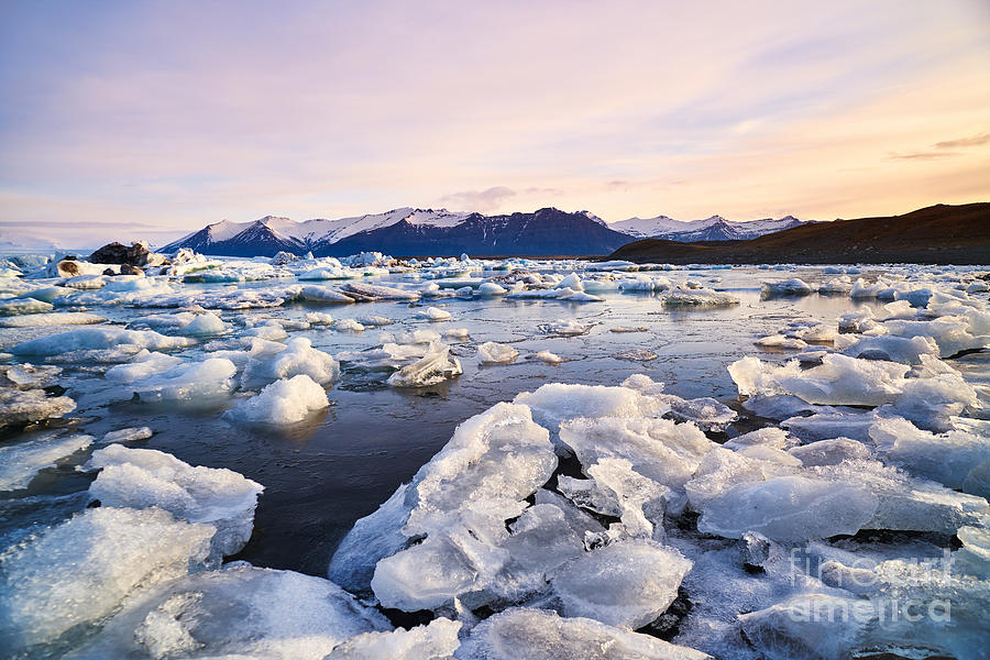 Icelandic Photograph - Broken Melting Pieces Of Ice At by Daxiao Productions