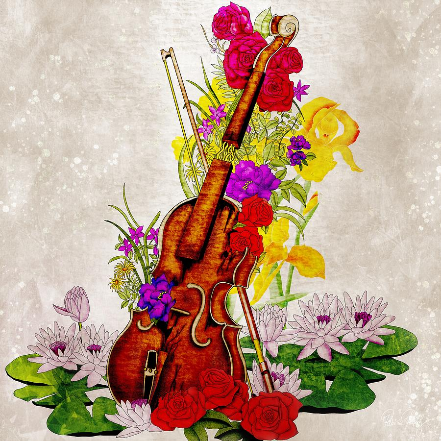 Broken Violin Full Of Flowers - Classical Music Painting