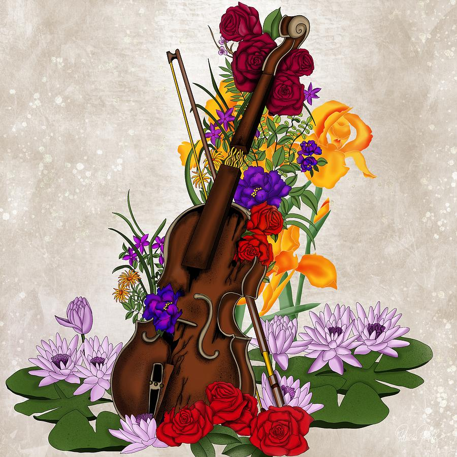 Broken violin surrounded by flowers by Patricia Piotrak