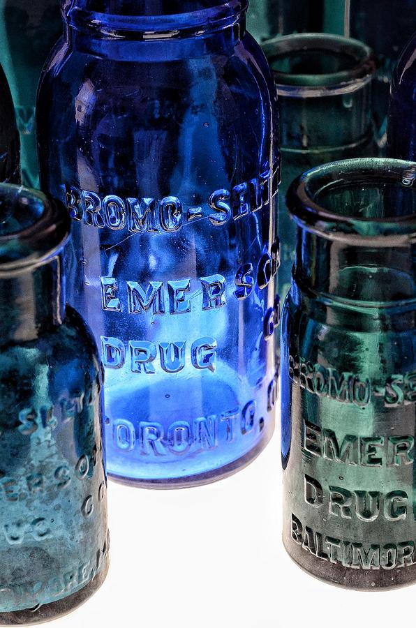 Bromo Seltzer Vintage Glass Bottles Collection - Rare Toronto Bottle - Rare Green And Blue #7 by Marianna Mills