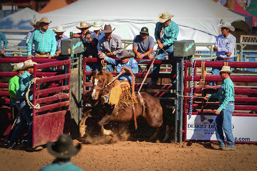 Bronc Riding out the Gate - DWP1900604 by Dean Wittle