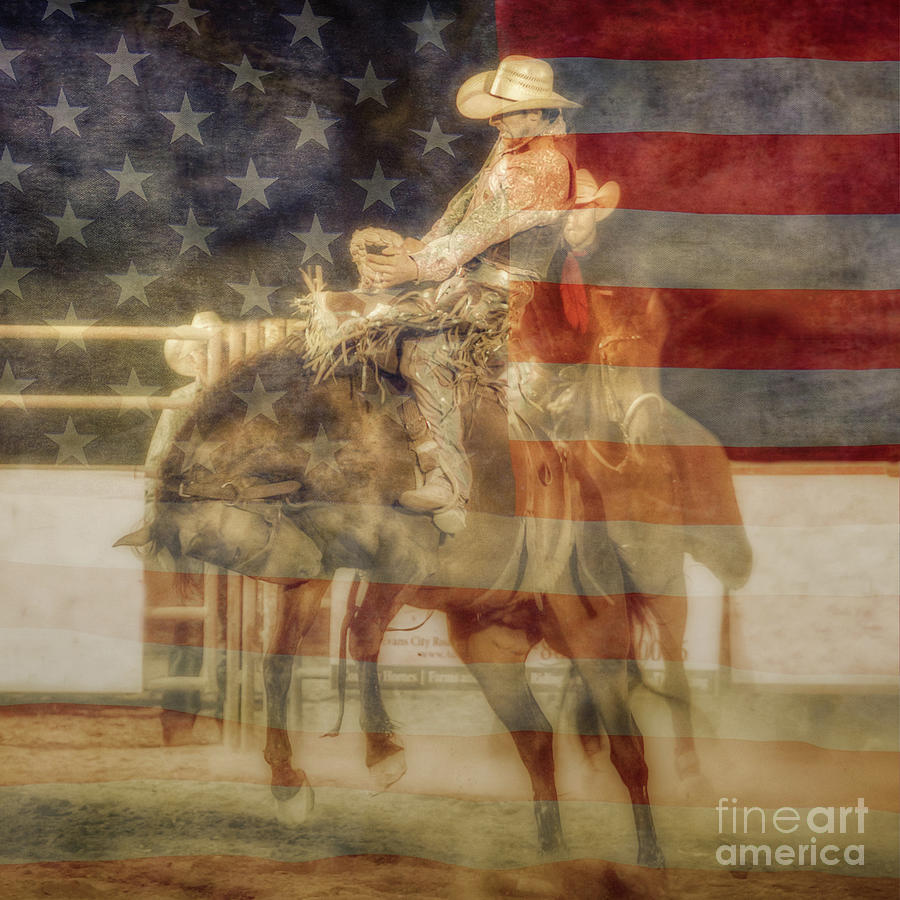 Rodeo Event Digital Art - Bronco Rider American Flag by Randy Steele